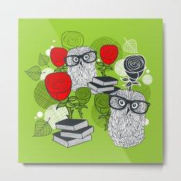 Owls and rose. Metal Print