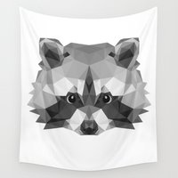 raccoon Wall Tapestries featuring Raccoon by Carma Zoe