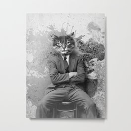 Vintage Black and White Gangster Cat Metal Print