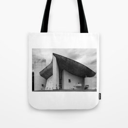 the iconic and dramatic chapel of Notre-Dame du Haut at Ronchamp by Architect Le Corbusier Tote Bag