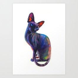 Black sphynx Art Print
