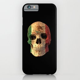 Mexican Flag Skull Design for Men and Women iPhone Case