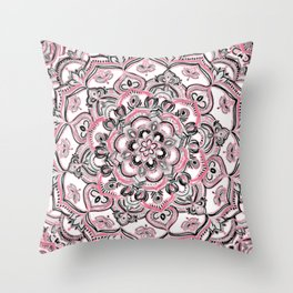 Magical Mandala in Monochrome + Pink Throw Pillow
