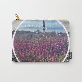 Lighthouse in field of Heather - circle graphic Carry-All Pouch