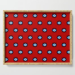 Evil Eye on Red Serving Tray
