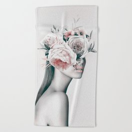 WOMAN WITH FLOWERS 11 Beach Towel