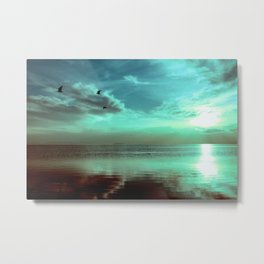 Sunset Off the Water (teal) Metal Print