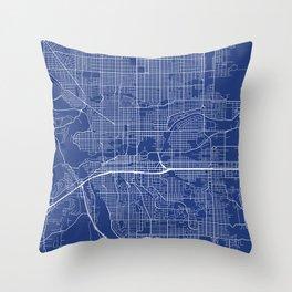 Spokane Map, USA - Blue Throw Pillow
