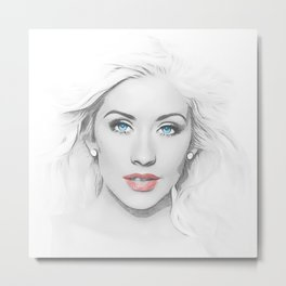 Christina Aguilera - Pop Art Metal Print