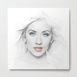 Christina Aguilera - Pop Art Metal Print
