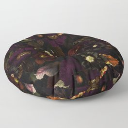The Darkest Dutch Vintage Flowers Garden  Floor Pillow