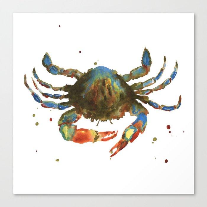 Crab art, coastal art, watercolor crab, crab pillow, beach house pillow Canvas Print