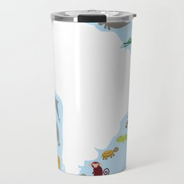 South America sloth anteater toucan lama armadillo manatee monkey dolphin Maned wolf raccoon jaguar Travel Mug