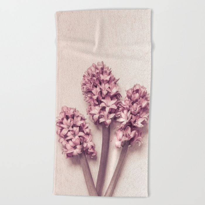 Three Pink Hyacinths Beach Towel