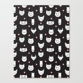 funny cats pattern Canvas Print
