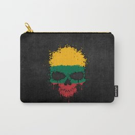 Flag of Lithuania on a Chaotic Splatter Skull Carry-All Pouch