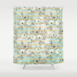 Cute watercolor gray floral and stripes design Shower Curtain