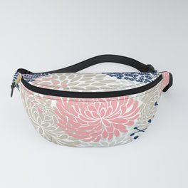 Floral Mixed Blooms, Blush Pink, Navy Blue, Gray, Beige Fanny Pack