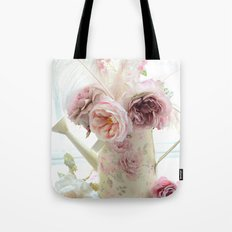 Shabby Chic Cottage Spring Floral In Water Bucket Tote Bag