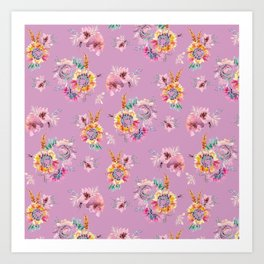 Meadow Flowers on Pastel Purple Art Print