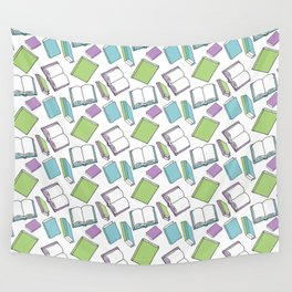 Doodle Books - Pattern in Green, Purple and Blue on a white background Wall Tapestry