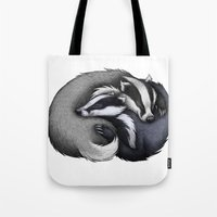 cuddle Tote Bags featuring Badger Cuddle by Lyndsey Green Illustration