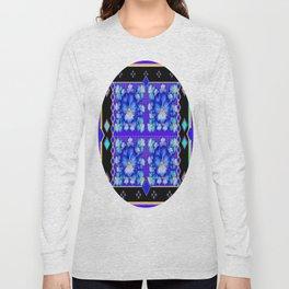 Blue Pansies in Purple &  Turquoise Colors Black Western Pattern Long Sleeve T-shirt