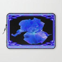 Blue-Lavender Iris Art Nouveau Pattern Art Laptop Sleeve