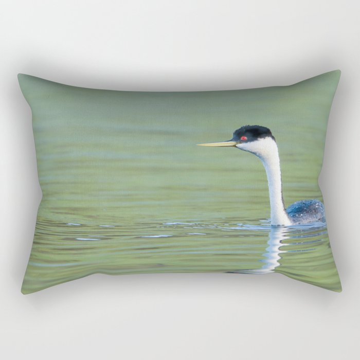 A Grebe navigates the early morning waters on a peaceful lake Rectangular Pillow