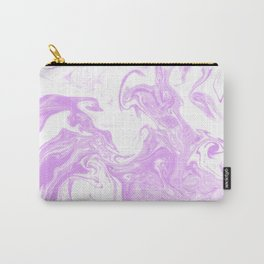 Marble suminigashi purple and white minimal pattern marbled spilled ink art Carry-All Pouch