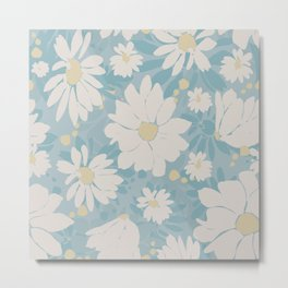 Vector, seamless daisy pattern on blue background.  Great for fabric, wallpaper, home decor. Metal Print