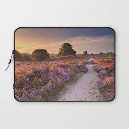 I - Path through blooming heather at sunrise, Posbank, The Netherlands Laptop Sleeve