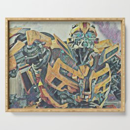 Bumblebee Surprised Artistic Illustration Colored Pencils Lines Style Serving Tray
