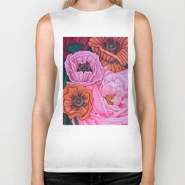 Pink Rose and Four Poppies, acrylic, 2004 Biker Tank