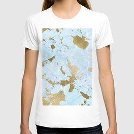 Gold & Light-blue Faux Marble T-shirt
