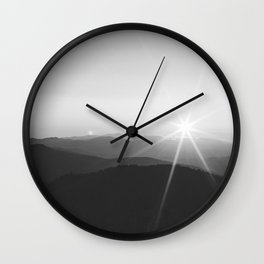 Sun on the Hill (Black and White) Wall Clock