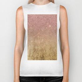 Pink Rose Gold Glitter and Gold Foil Mesh Biker Tank