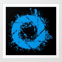 glados Art Prints featuring Portal Splatter Logo by Dr4Cu74