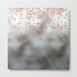 Rose gold  pink glitter confetti on silver metal background Metal Print