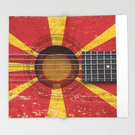 Old Vintage Acoustic Guitar with Macedonian Flag Throw Blanket