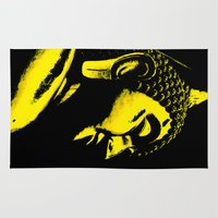 buddah Area & Throw Rugs featuring Buddah Head 01; Gold  by Kether Carolus