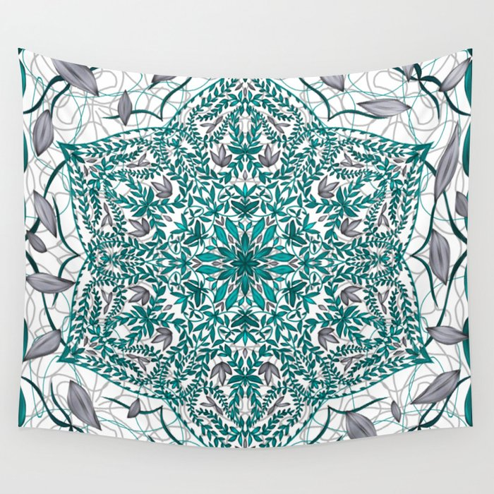 Woven Vines of Silver and Life Wall Tapestry