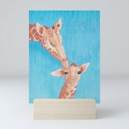 Mother and Baby Giraffe - Bathtime Mini Art Print