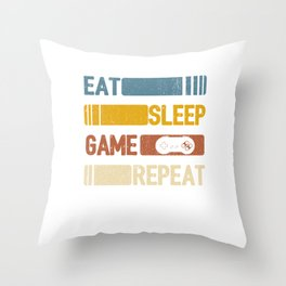 Video Game Eat Sleep Game Repeat Funny Vintage Retro Distressed Styled Unisex Shirt Throw Pillow