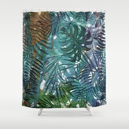Aloha - Tropical Palm Leaves and Monstera Leaf Garden Shower Curtain