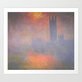 Claude Monet - London, the Houses of Parliament, Sunlight Opening in Fog.jpg Art Print