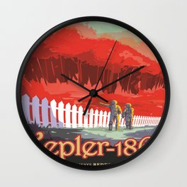 Kepler-186 : NASA Retro Solar System Travel Posters Wall Clock