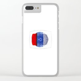 Blue and Red (with elipse and square) Clear iPhone Case