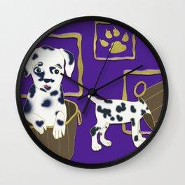 Purple puppy antics   Puppies at play Wall Clock