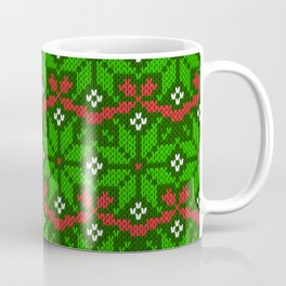 Festive knitted snowflake motif pattern in green & red Coffee Mug